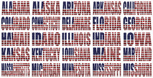 Gli stati americani da A alla m. inbandierano le parole Fotografia Stock