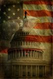 Gli Stati Uniti Campidoglio, bandierina, aquila strutturata Fotografie Stock