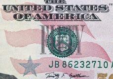 Gli Stati Uniti cinquanta dollari della fattura di macro del primo piano Fotografie Stock