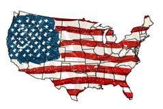 Gli Stati Uniti con la bandierina Fotografia Stock Libera da Diritti
