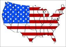 Gli Stati Uniti con la sovrapposizione della bandierina Immagine Stock