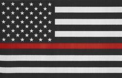 Gli Stati Uniti d'America assottigliano la bandiera della linea rossa Fotografia Stock Libera da Diritti