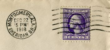 Gli Stati Uniti d'America - 22 dicembre 1918: Bollo storico americano: tre centesimi con George Washington con inchiostro nero Ca fotografia stock libera da diritti