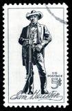 Gli Stati Uniti d'America hanno annullato il francobollo che mostra una litografia di Sam Houston fotografia stock