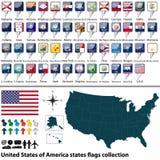 Gli Stati Uniti d'America indicano la raccolta delle bandiere Fotografia Stock Libera da Diritti