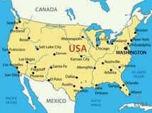 Gli Stati Uniti d'America - mappa Fotografie Stock Libere da Diritti