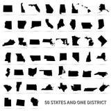 Gli Stati Uniti d'America 50 stati e 1 distretto federale St degli Stati Uniti Fotografie Stock Libere da Diritti