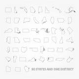 Gli Stati Uniti d'America 50 stati e 1 distretto federale St degli Stati Uniti Immagine Stock