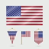 Gli Stati Uniti diminuiscono, stendardi e bandiera degli Stati Uniti sul supporto Illustrazione di vettore Bandiera Stella-a stri illustrazione di stock