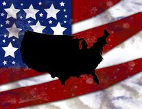 Gli Stati Uniti e bandierina Immagini Stock