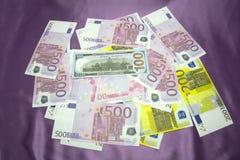 Gli Stati Uniti 100 200 500 euro Fotografie Stock