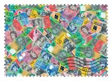 Gli Stati Uniti Francobolli Dollari australiani di fondo astratto fotografia stock