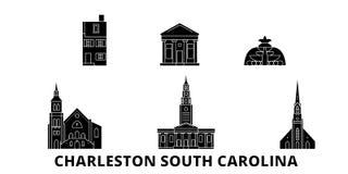 Gli Stati Uniti, insieme piano dell'orizzonte di viaggio di Charleston South Carolina Gli Stati Uniti, città del nero di Charlest illustrazione vettoriale