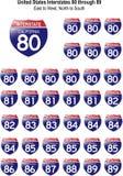 Gli Stati Uniti Interstates da 80 a 89 Fotografia Stock Libera da Diritti