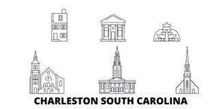 Gli Stati Uniti, linea insieme di Charleston South Carolina dell'orizzonte di viaggio Gli Stati Uniti, città del profilo di Charl illustrazione vettoriale