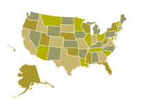Gli Stati Uniti mappano Fotografia Stock