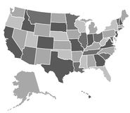 Gli Stati Uniti mappano Fotografia Stock Libera da Diritti