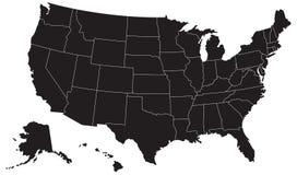 Gli Stati Uniti mappano la siluetta Fotografia Stock Libera da Diritti