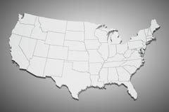 Gli Stati Uniti mappano su gray Immagini Stock