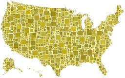 Gli Stati Uniti in un mosaico dei quadrati Immagine Stock