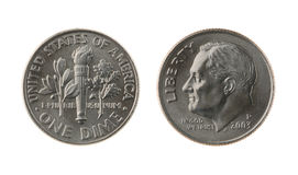 Gli Stati Uniti una moneta della moneta da dieci centesimi di dollaro isolata su bianco