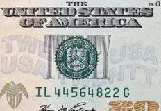 Gli Stati Uniti venti dollari della fattura di macro del primo piano Immagini Stock Libere da Diritti