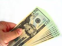 Gli Stati Uniti venti fatture & mano del dollaro Fotografie Stock Libere da Diritti