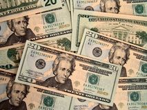 Gli Stati Uniti venti fatture del dollaro Immagine Stock