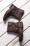 Gli stivali degli uomini di cuoio Immagini Stock Libere da Diritti