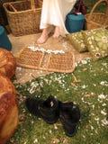 Gli stivali del bambino di fiore Immagine Stock