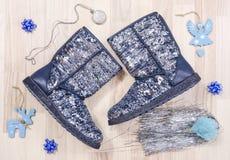 Gli stivali frizzanti di Natale dell'inverno con gli accessori hanno sistemato sul pavimento Immagine Stock