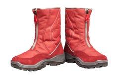 Gli stivali impermeabili rossi dei bambini fotografia stock libera da diritti