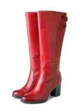 Gli stivali rossi delle donne Fotografia Stock Libera da Diritti