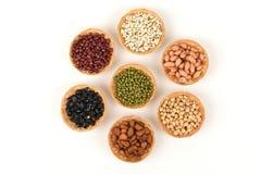Gli strappi del lavoro, fagioli della soia, fagioli rossi, fagioli neri, arachide, pinenut e fagiolini Immagine Stock Libera da Diritti