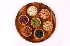 Gli strappi del lavoro, fagioli della soia, fagioli rossi, fagioli neri, arachide, pinenut e fagiolini Immagini Stock Libere da Diritti