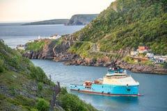 Gli stretti che conducono per port nel ` s, Terranova, Canada di St John Fotografia Stock