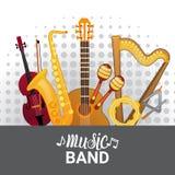 Gli strumenti della banda di musica hanno fissato il concetto musicale del manifesto di concerto dell'insegna illustrazione di stock