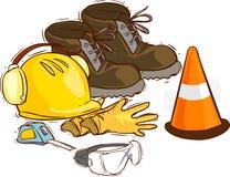 Gli strumenti della costruzione ed i mezzi protettivi Stivali di lavoro, strumenti, casco di costruzione, occhiali di protezione, Fotografia Stock Libera da Diritti
