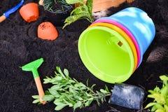 Gli strumenti di giardinaggio sul fondo del suolo pronto a piantare i fiori ed il piccolo giardino della pianta in primavera funz fotografia stock