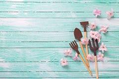 Gli strumenti di giardino ed i fiori rosa teneri su turchese dipinto corteggiano Fotografia Stock
