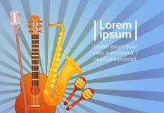 Gli strumenti di musica hanno messo l'insegna con il concetto di musical dello spazio della copia royalty illustrazione gratis