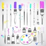 Gli strumenti disegnati a mano di arte, dipingenti fornisce le illustrazioni messe royalty illustrazione gratis