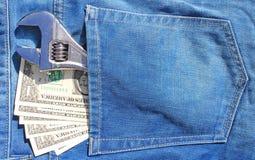 Gli strumenti e incassano la tasca Immagine Stock Libera da Diritti