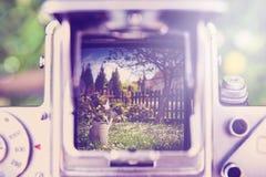 Gli strumenti ed i fiori di giardinaggio all'aperto attraverso la vecchia macchina fotografica con instagram effettuano il retro  Fotografie Stock Libere da Diritti