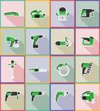 Gli strumenti elettrici per le icone piane della riparazione e della costruzione vector il ill Fotografia Stock Libera da Diritti