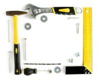 Gli strumenti incorniciano con lo spazio della copia Fotografie Stock