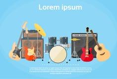 Gli strumenti musicali hanno messo la banda rock dei tamburi della chitarra illustrazione di stock