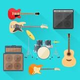 Gli strumenti musicali hanno messo la banda rock dei tamburi della chitarra Fotografia Stock