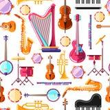 Gli strumenti musicali vector il modello senza cuciture Progettazione variopinta del fondo per la stampa del tessuto illustrazione vettoriale