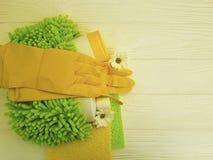 Gli strumenti per la pulizia dei fiori di legno bianchi dell'attrezzatura protettiva della raccolta del governo della casa funzio Fotografia Stock